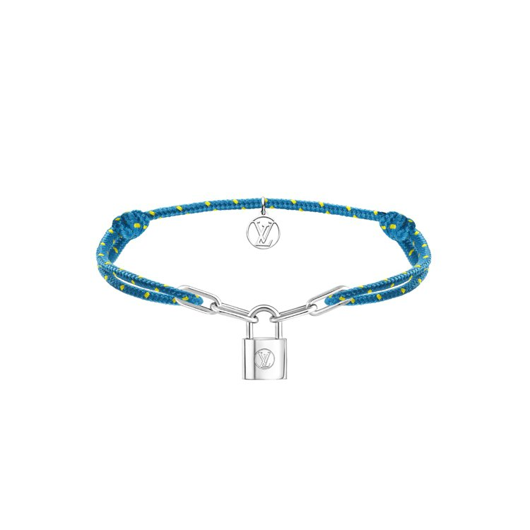 路易威登Silver Lockit手鍊黃色點綴的藍色款,13500元。圖/路易威...