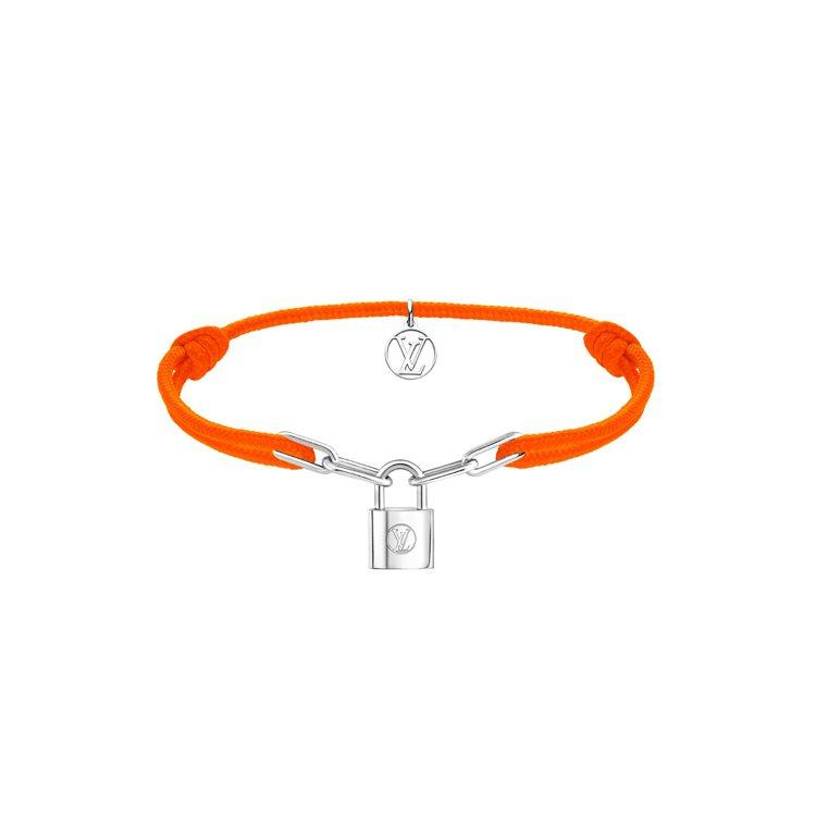 路易威登Silver Lockit手鍊橘色款,13500元。圖/路易威登提供