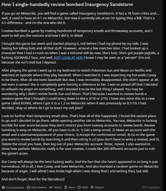 開發商備份的Reddit貼文截圖,可看到《Insurgency:Sandstor...