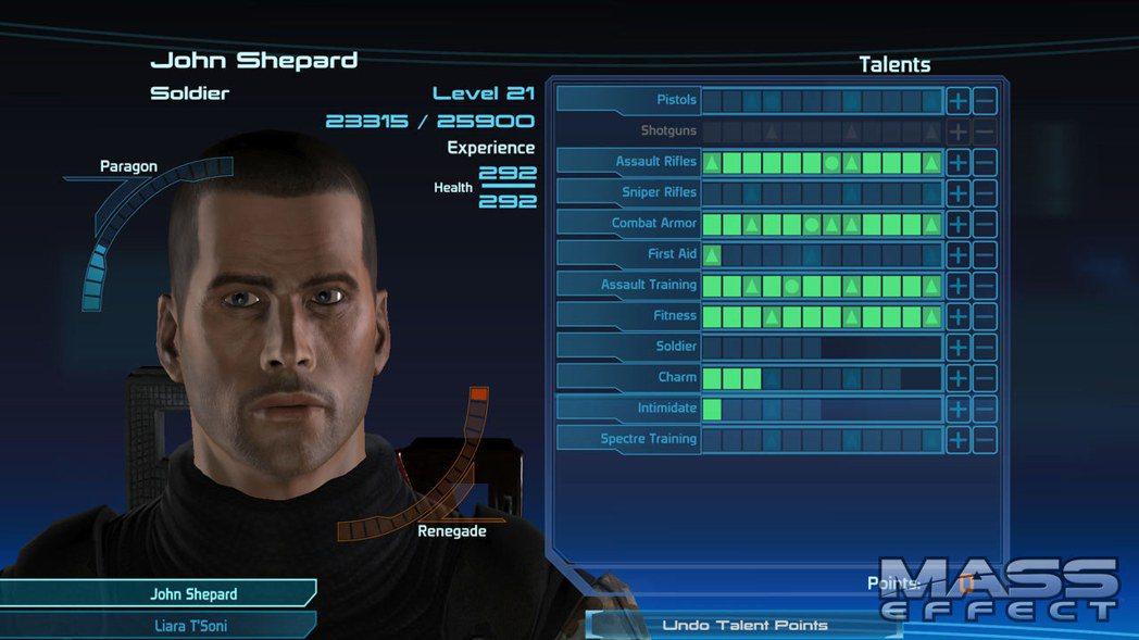 《質量效應》1代遊戲畫面,可看到人物的善惡值