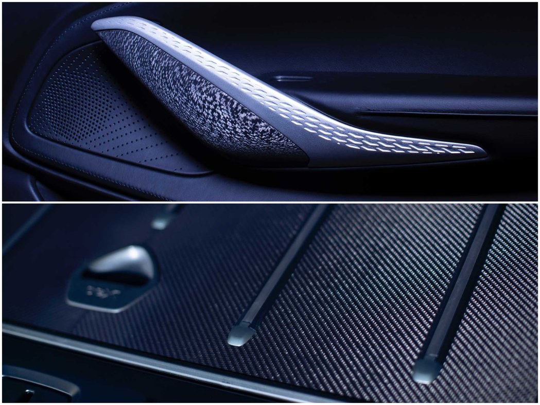 DBX By Q在中控台和門把上都用了手工的碳纖維飾板。 Aston Marti...