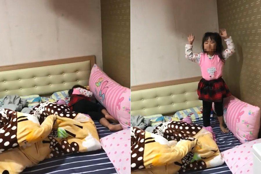 妹妹聽到媽媽放的音樂立刻起床跳舞。 圖/擷自爆廢公社影片