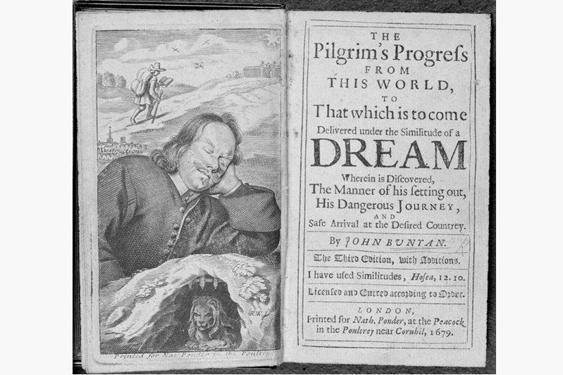 1678年由英國基督教作家約翰.班揚出版的寓言詩《天路歷程》原版書影。 圖/作者提供