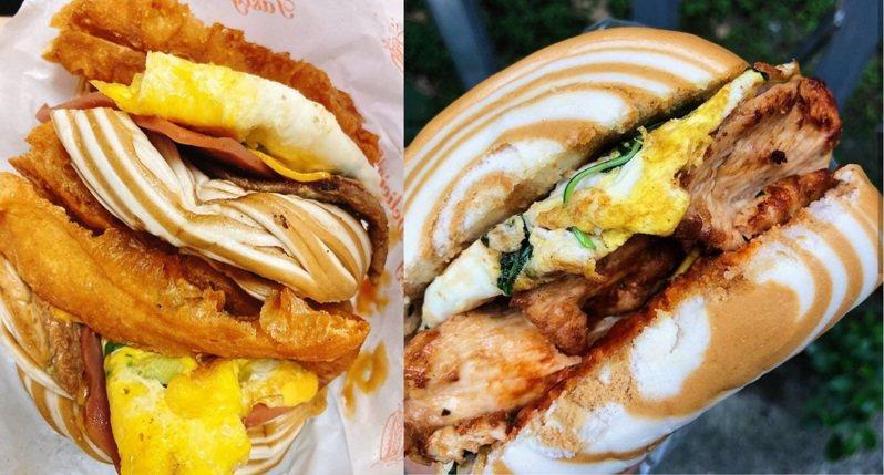 銅板價大份量早餐,新北板橋「無敵海景饅頭蛋」(左)、台北東區「饅頭蛋加土雞肉」(右)。IG @zara_kao、IG @stingabc提供