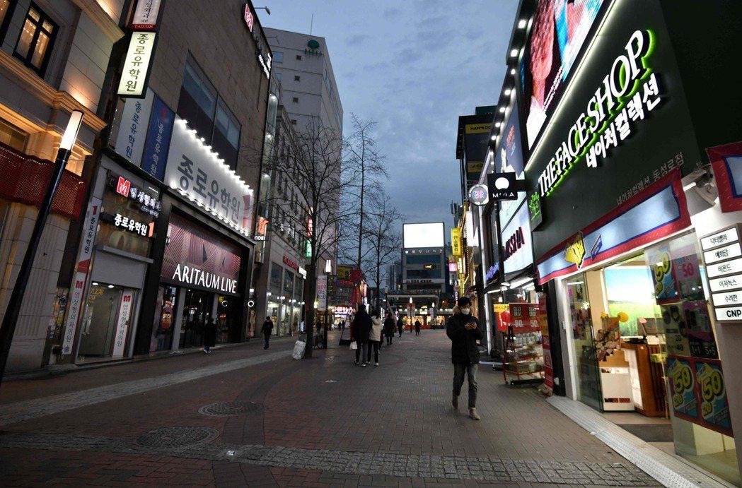 南韓大邱市街道冷冷清清。法新社
