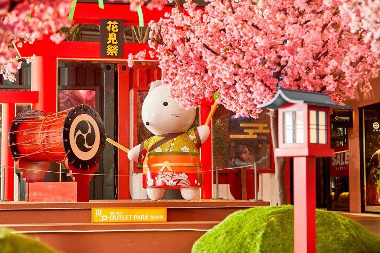 台中港三井OUTLET推出戶外日式「櫻花神社公園」。圖/MITSUI OUTLE...