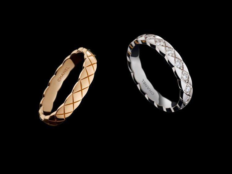 COCO CRUSH系列推出全新窄版戒指,備有黃K金、白K金、與18K Beig...