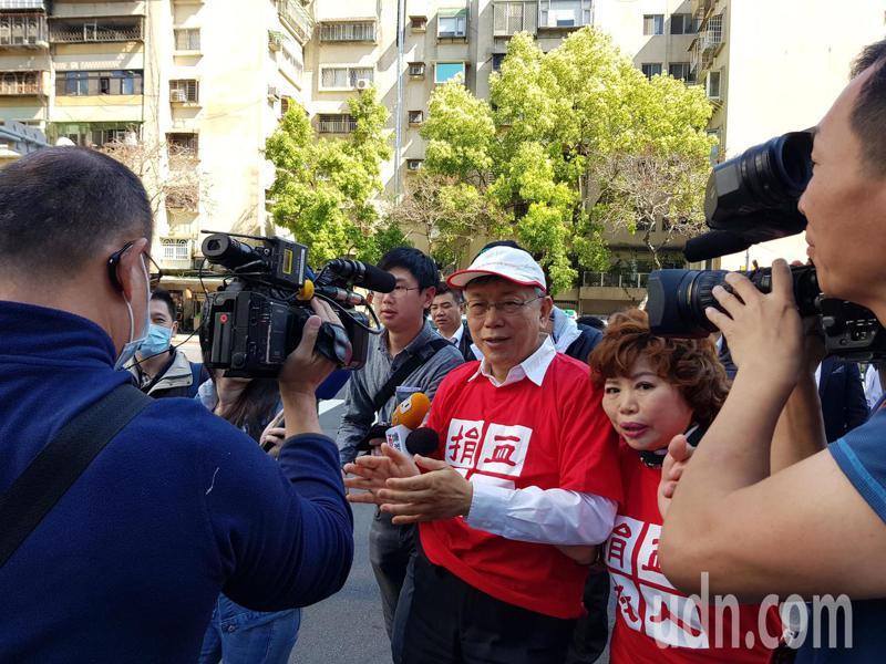 台北市長柯文哲今天早上出席台北內湖科技園區發展協會舉辦的「內科千人捐血活動」。記者翁浩然/攝影