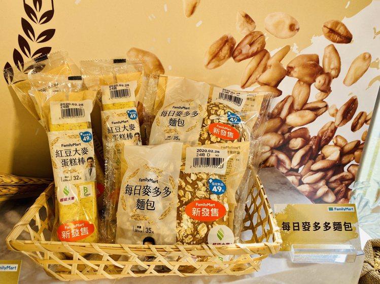 以超級大麥麵糰與內餡製作的每日麥多多麵包包和紅豆大麥蛋糕棒。記者黃筱晴/攝影