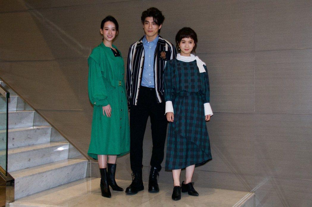 孟耿如(左起)、林哲熹、嚴正嵐出席「女鬼橋」聯訪。圖/傳影互動提供
