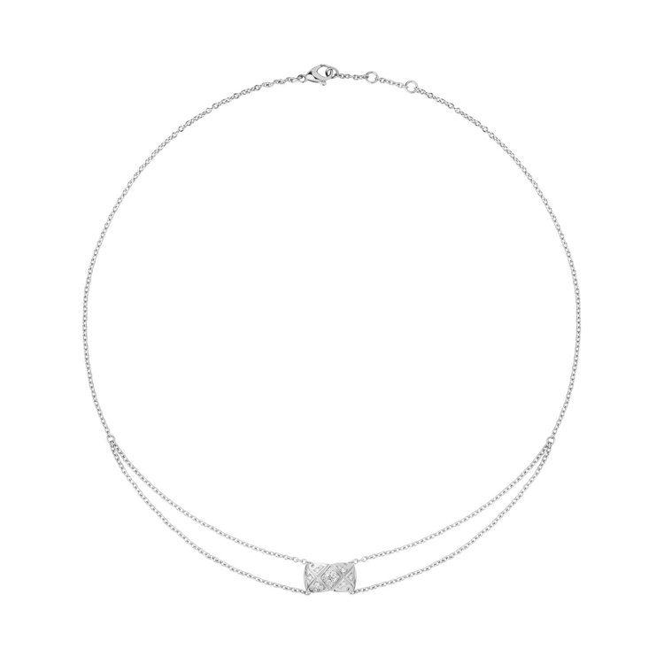 香奈兒COCO CRUSH系列18K白金鑲鑽項鍊。圖/香奈兒提供