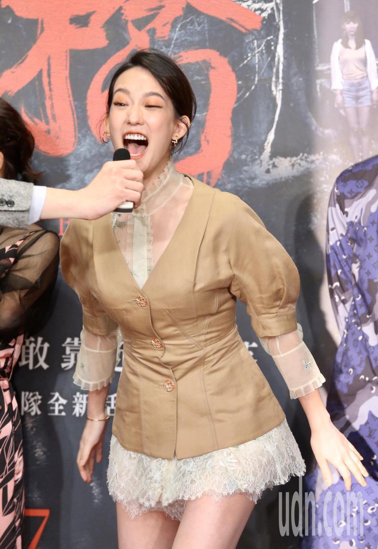 孟耿如今晚出席「女鬼橋」電影首映會,現場接受尖叫分貝測試。記者徐兆玄/攝影