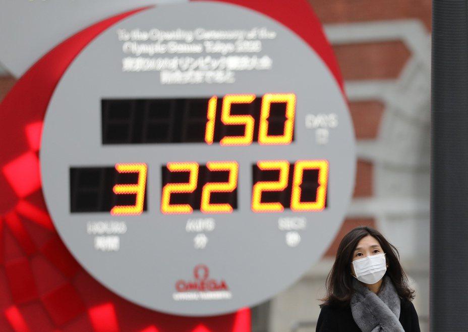 2月25日,在日本東京,行人戴口罩經過顯示東京奧運會倒計時的電子螢幕。 新華社