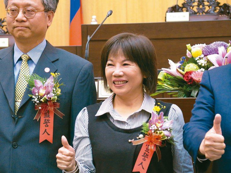 葉明月昨天下午在議事堂宣誓就職,正式成為第二屆桃園市議員。 記者張裕珍/攝影