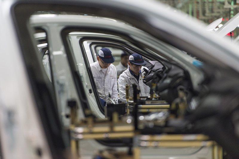 東風本田在湖北武漢的汽車工廠。 圖/美聯社
