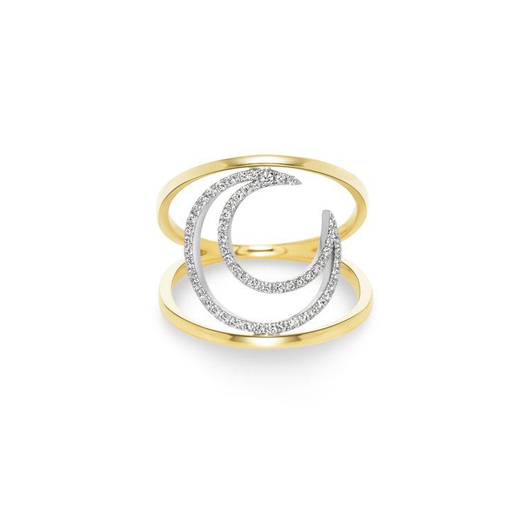 AHKAH tina moon 18K黃金與白金鑲鑽戒指,68,100元。圖/A...