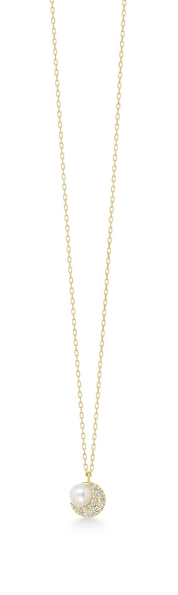 AHKAH crescent pearl pave 18K黃金鑽石珍珠項鍊,21...