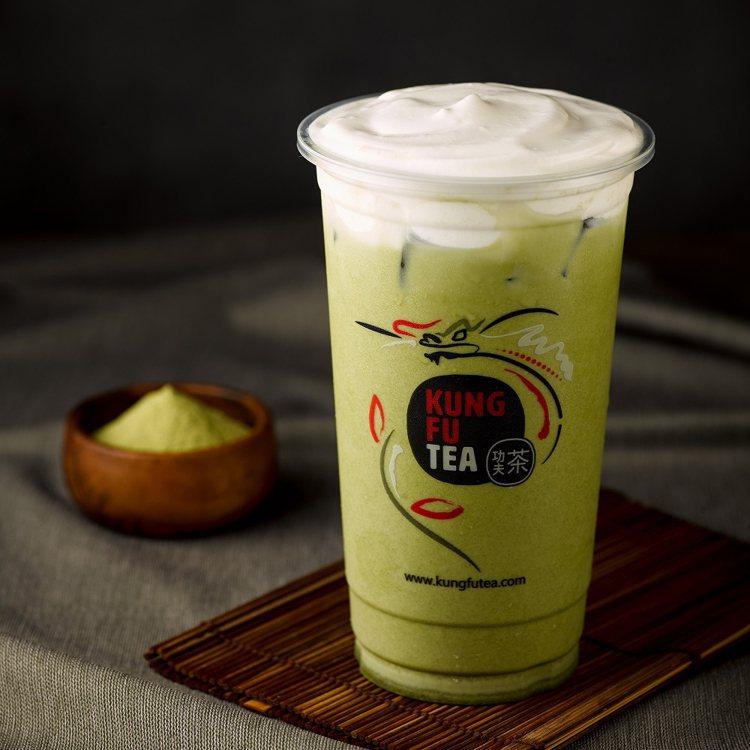 美國功夫茶推出「抹茶系列」同款第2杯半價的優惠。圖/頂呱呱提供