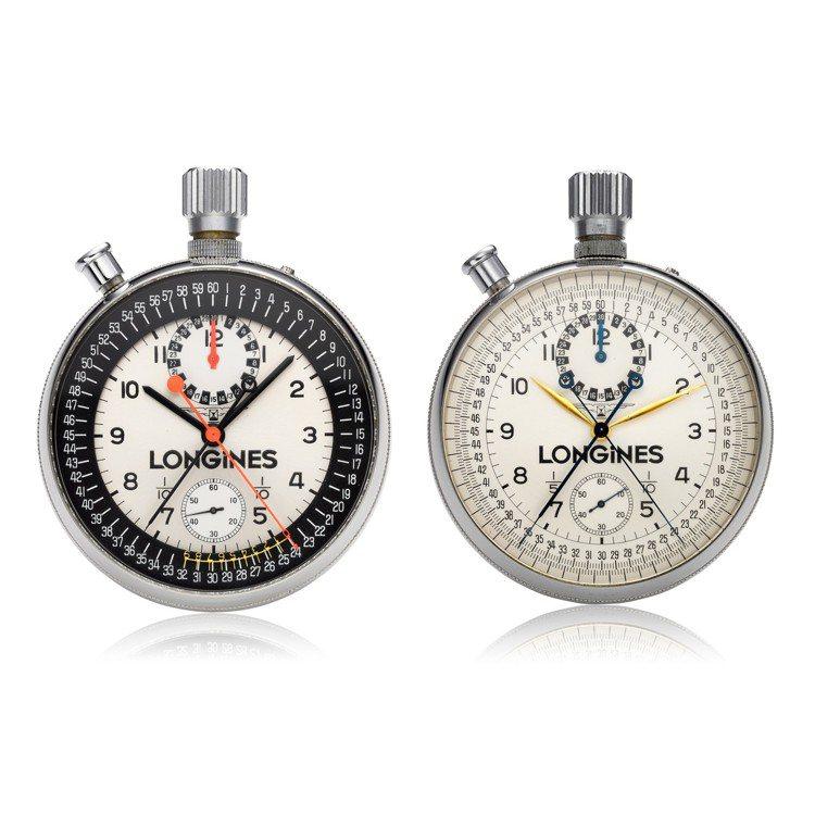 兩枚浪琴追針計時碼表懷表,編號7411和編號8350,曾為法國單車協會裁判Jea...