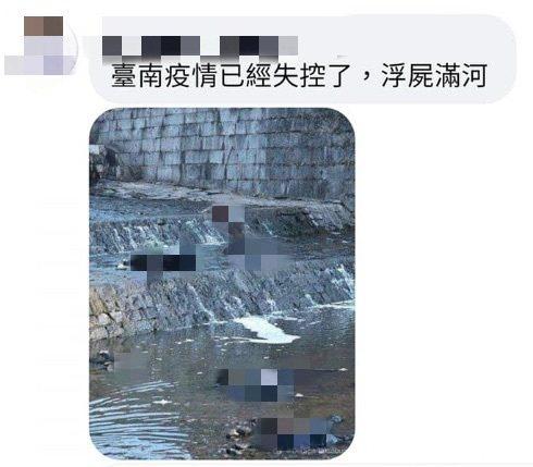有網友在臉書發文,指台南疫情失控,並附上一張有多具遺體躺在水中的照片。記者鄭維真/翻攝