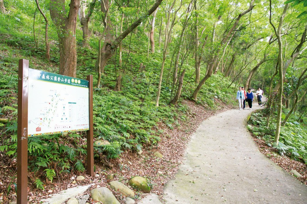 八卦山風景區田中森林步道,沿途綠蔭夾道,已成為民眾登山健行的熱門地點。圖/參山國...