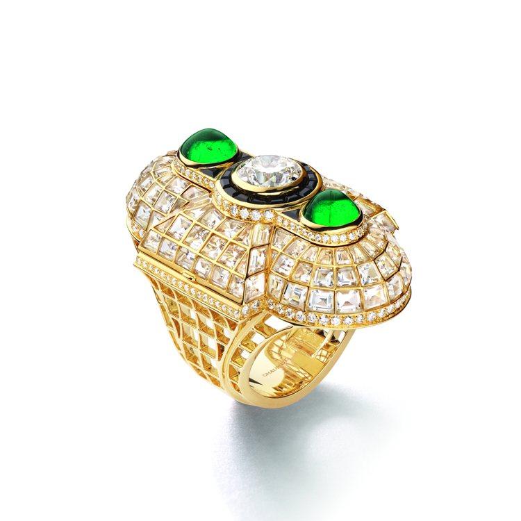 Trésors D'Ailleurs系列巴黎主題Oriane 18K黃金戒指鑲...