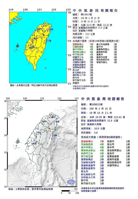 2月25日的地震,新舊制震度不同。圖/取自鄭明典臉書、資料來源氣象局