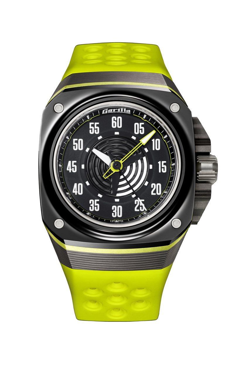 Gorilla,Fastback Acid Green大三針腕表,自動上鍊機芯,44毫米,時間顯示,防水100米,40,000元。圖 / Gorilla提供