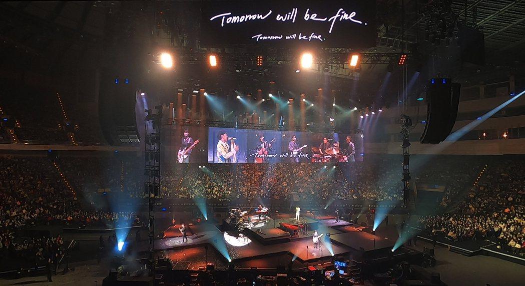 蘇打綠日前在吳青峰「太空備忘記2020」台北小巨蛋演唱會上合體並獻唱新歌。圖/環
