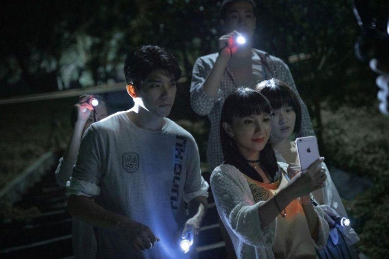 林哲熹(左起)、張寗以及嚴正嵐在「女鬼橋」中有極為顫慄的恐怖表演。圖/傳影互動提