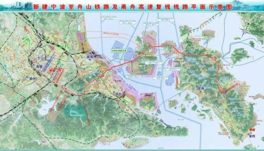 新建寧波至舟山鐵路及甬舟高速複線線路平面示意圖。圖/澎湃新聞