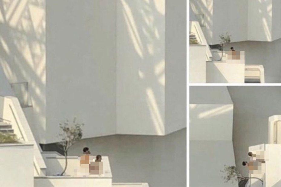 「大白天這樣好嗎?」有網友去年在臉書社團《爆料公社》貼文,表示在台南美術館外的露台上,看見有一對戴著黑色口罩的年輕男女打野戰,遭民眾側錄取證,報警處理。圖/翻攝自爆料公社。