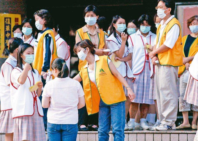 因應新冠肺炎疫情,包括大學指考等多項考試延期。圖為2003年SARS期間,時逢國中基測,在高雄高商考場工作人員全部戴上口罩為學生量體溫,通過檢查後才能進入考試。 圖/聯合報系資料照片