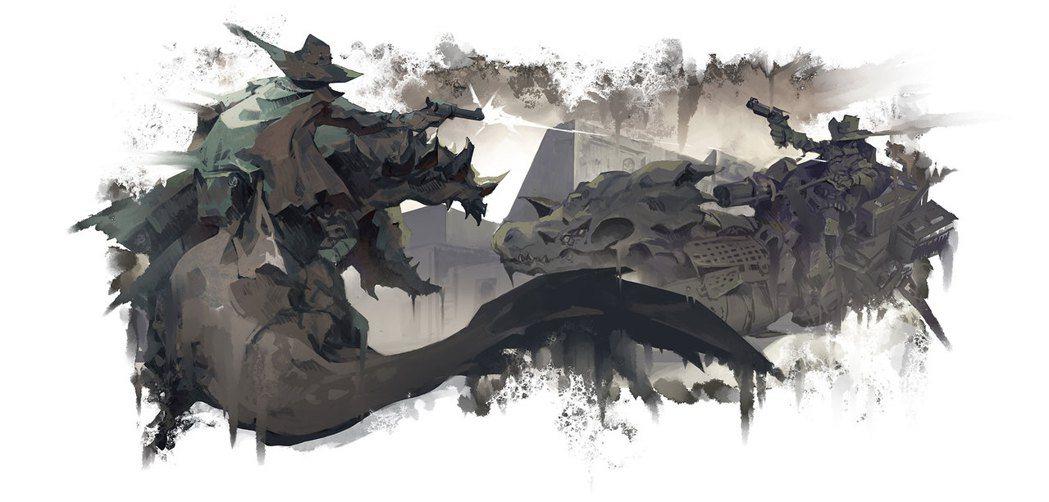 亡命之徒與恐龍概念圖