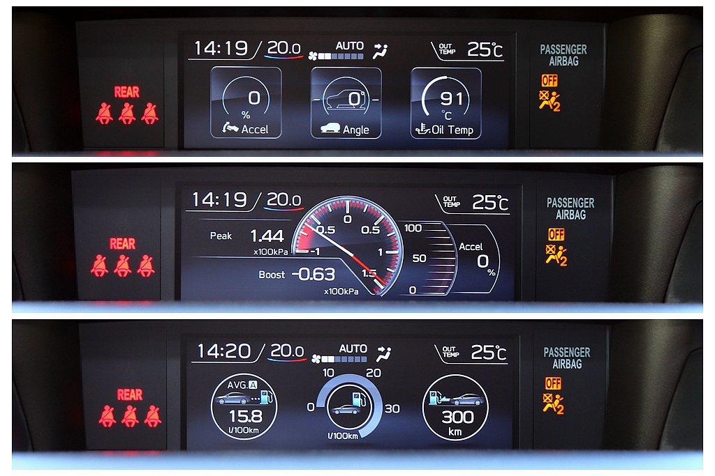 5.9吋LCD多功能行車資訊顯示螢幕,可顯示車輛狀況、油溫、增壓值、水平等數據。...