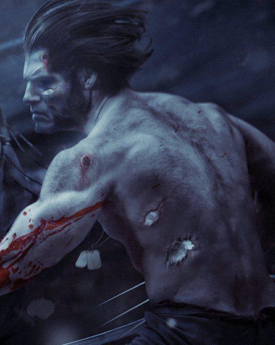 知名概念藝術家BossLogic繪製亨利卡維扮演「金鋼狼」的圖像。圖/摘自推特