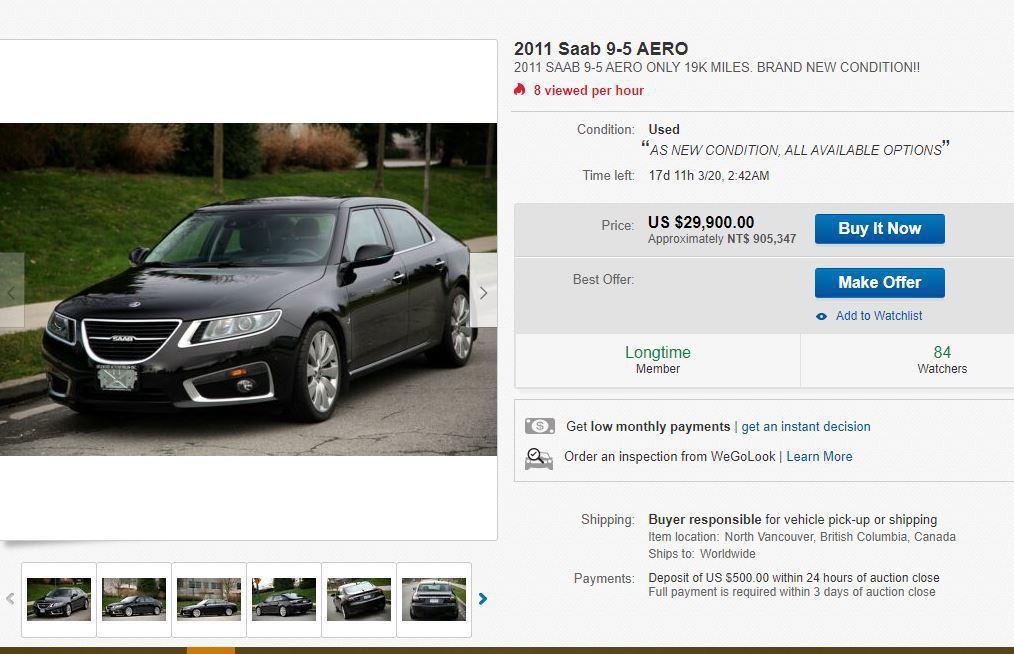 加拿大有一輛狀況良好的Saab 9-5要出售。 摘自eBay