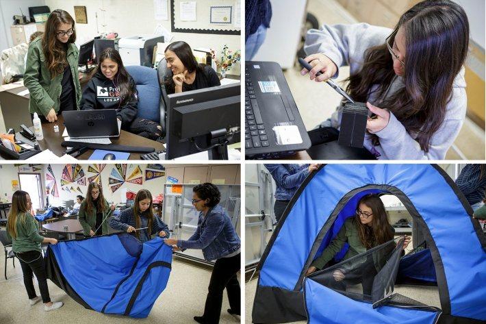 12名高中女孩在DIY GIrls協助下,為無家者設計出一款「太陽能帳篷」。 圖...