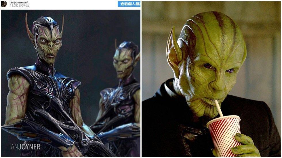 「驚奇隊長」的史克魯爾人(右)的原始造型為左圖。圖/摘自IG