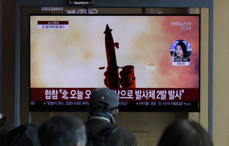 北韓2日試射2枚短程彈道飛彈,是今年首度試射。(美聯社)