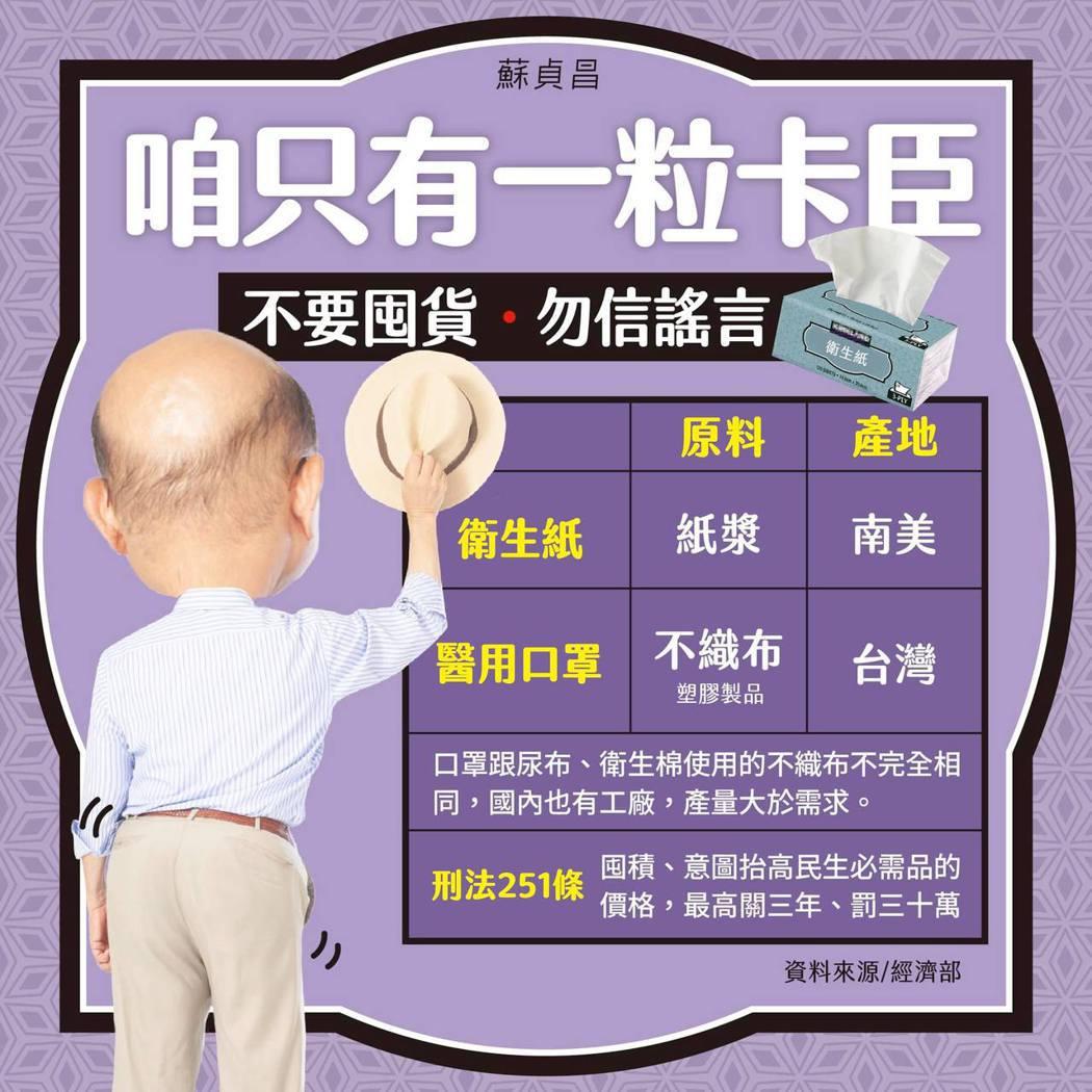 蘇貞昌院長推出幽默的政令宣導圖片。 圖/擷自蘇貞昌院長臉書