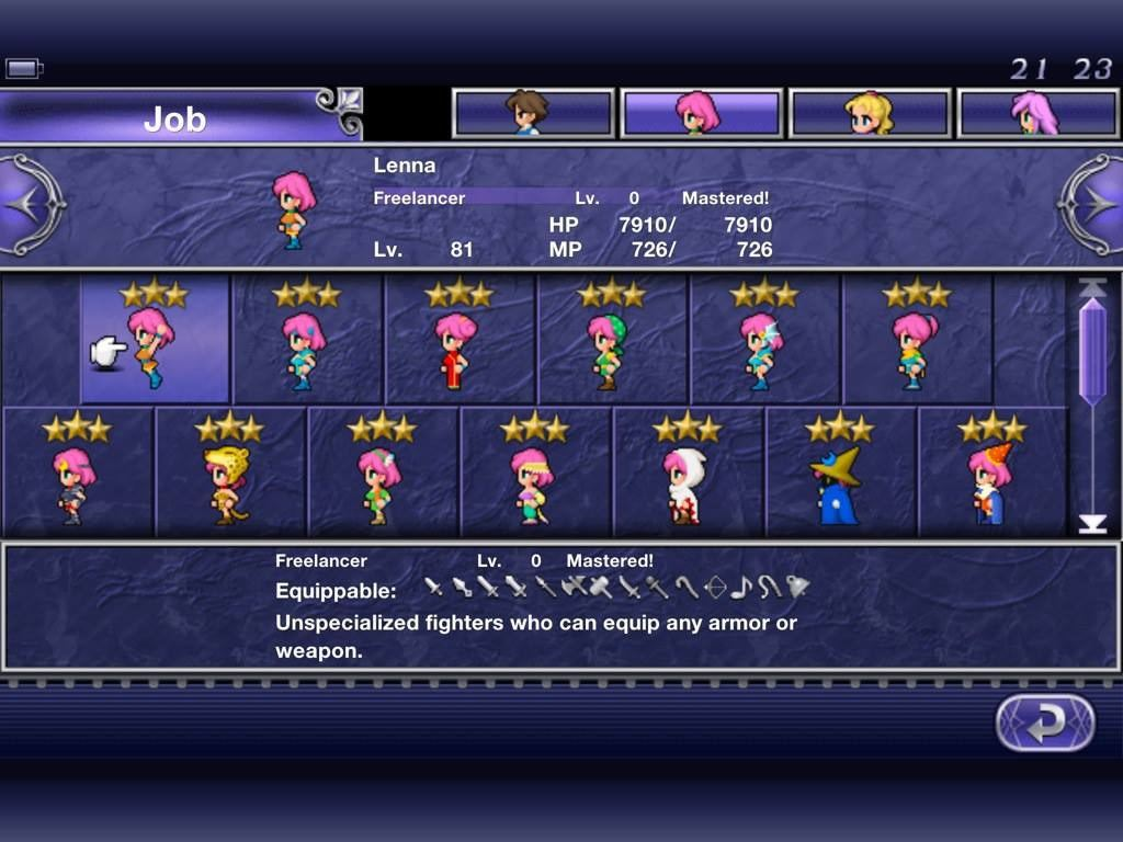 此作的賣點之一是轉職系統,原版有22種職業,GBA版增至26種。 (遊戲截圖)