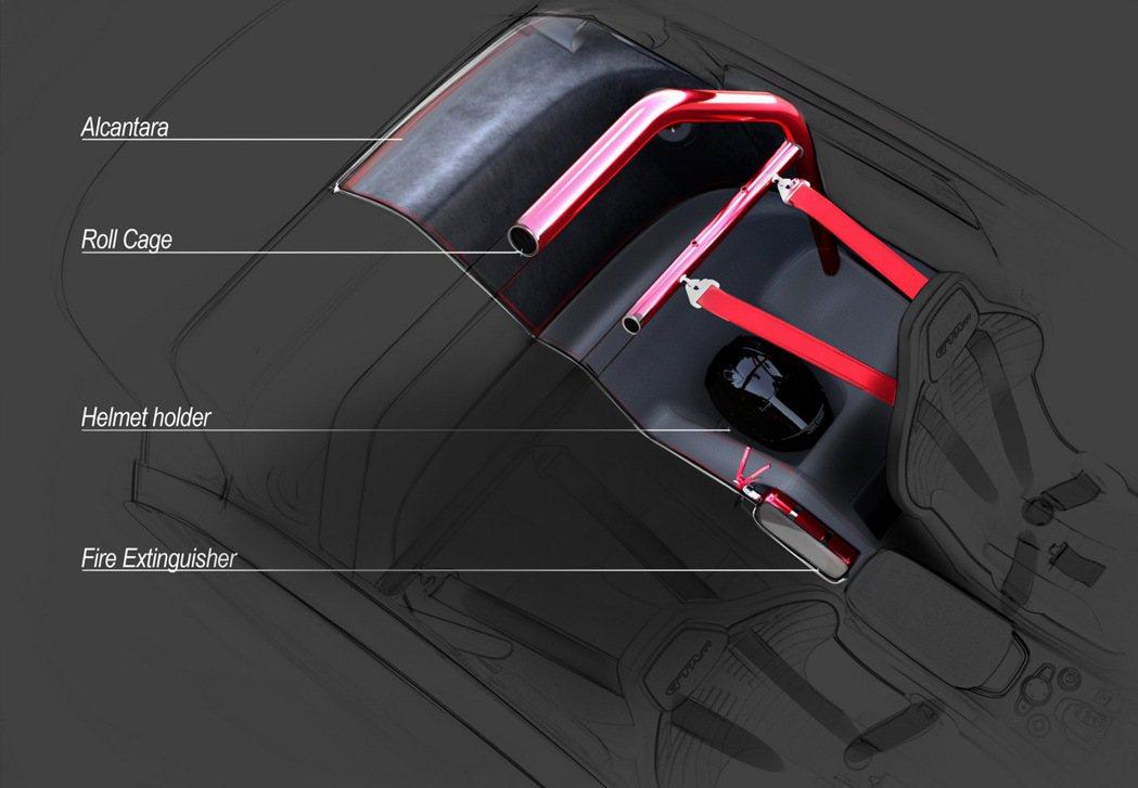 GTAm後座拆空後可以擺放安全帽以及滅火器。 摘自Alfa Romeo