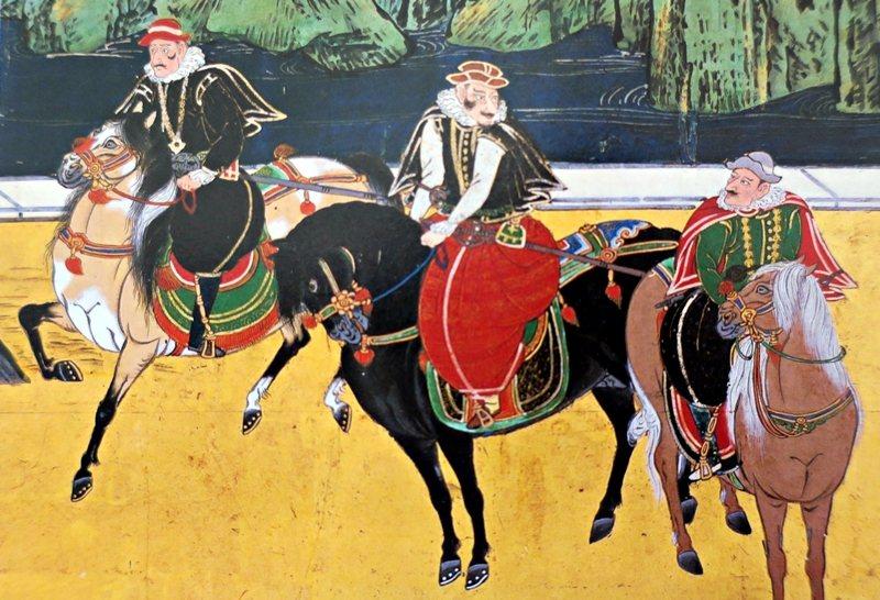 葡萄牙商人騎著阿拉伯駿馬。翻拍自《日本之美》,小學館。 圖/作者提供