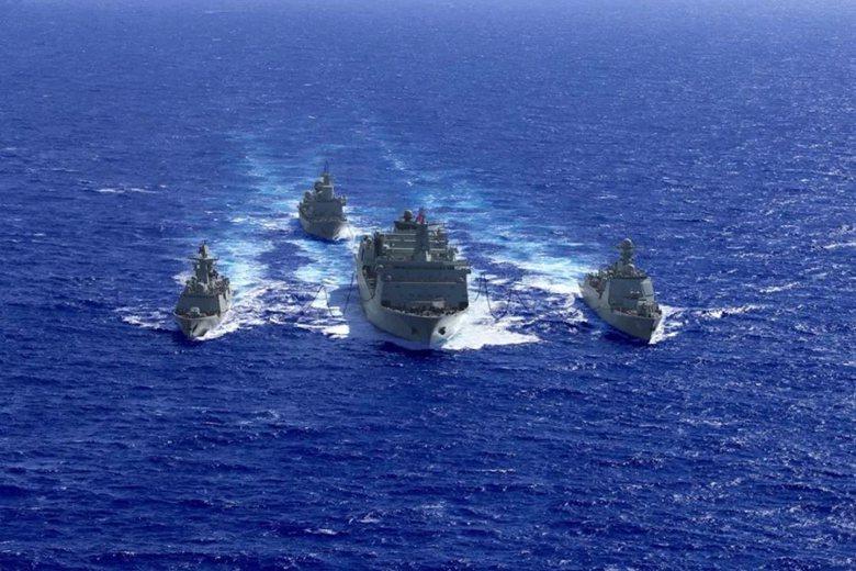 中共南部戰區派遣的「161遠海訓練編隊」接近夏威夷進行演訓。 圖/南海艦隊公眾號