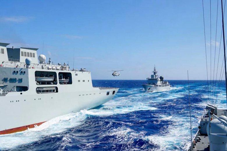 共軍中太平洋演訓畫面。 圖/南海艦隊公眾號
