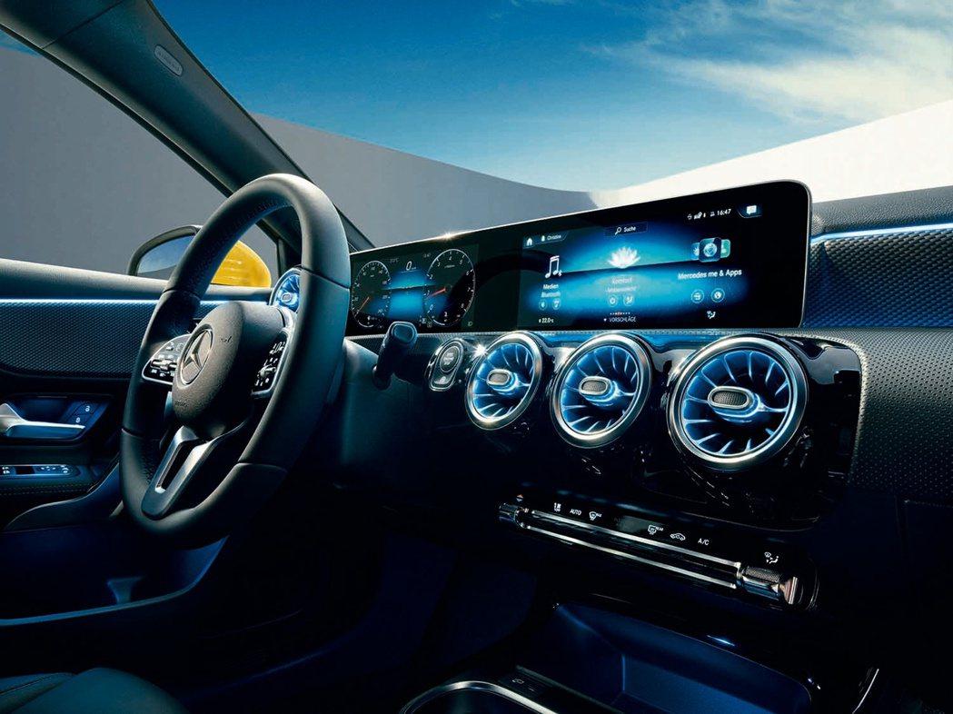 內裝方面則導入最新MBUX多媒體功能,透過10.25吋高解析度觸控螢幕結合智能聲...