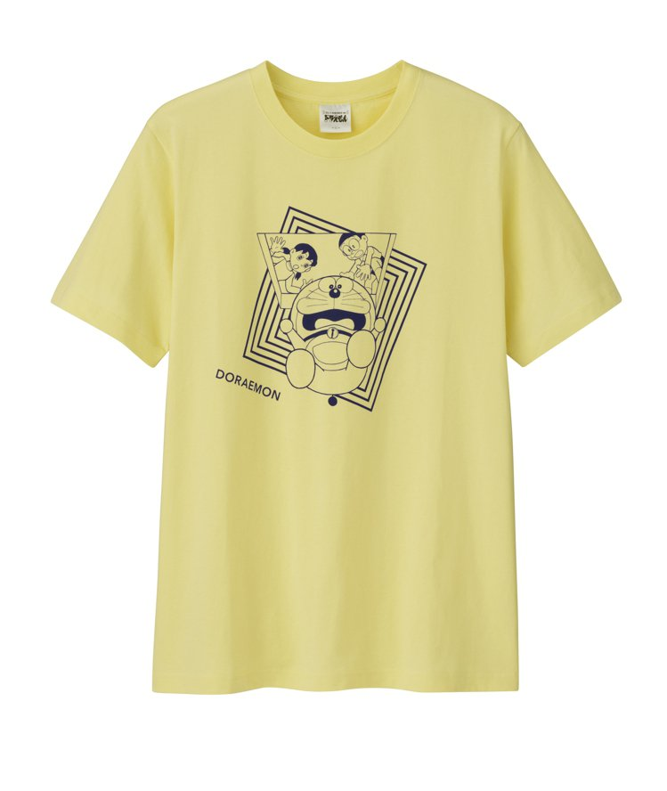 GU與ASOKO合作哆啦A夢系列T恤290元。圖/GU提供