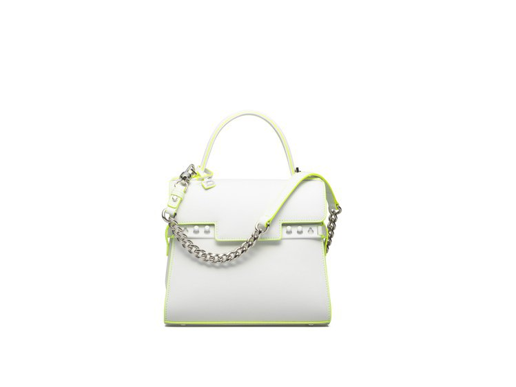 Tempête光亮白滾邊牛皮經典型肩揹手提包,售價15萬5,600元。圖/DE...