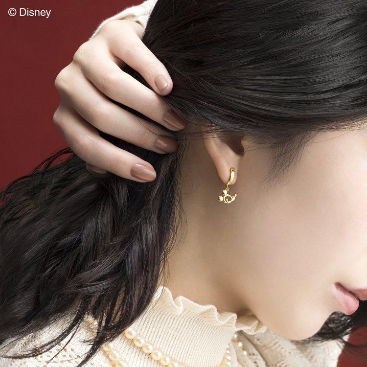 Petit Arabesque系列米奇與米妮耳環。圖/K.UNO提供